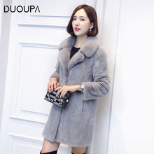 DUOUPA2019Autumn and Winter Fashion Mink Coat Womens Long Section of Imitation Water Mane Thickening to Increase Fur Plush
