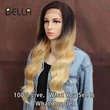 Bella Pruik Synthetische Lace Pruik Blonde Kleur Body Wave 28 Inch Ombre Rood Blond Hittebestendige Pruiken Voor Zwarte Vrouwen lolita Cosplay