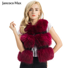 2020 New Arrivals Women's Real Raccoon Fur Gilet Top Qaulity Fluffy Fur Waistcoat Fashion Vests 3 Rows S1150