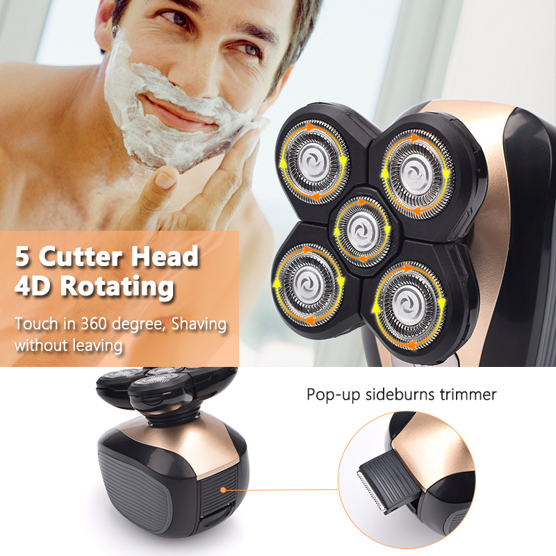 5 In 1 4D Men's Rechargeable Bald Head Electric Shaver 5 Floating Heads Beard Nose Ear Hair Trimmer Razor Clipper Facial Brush 4