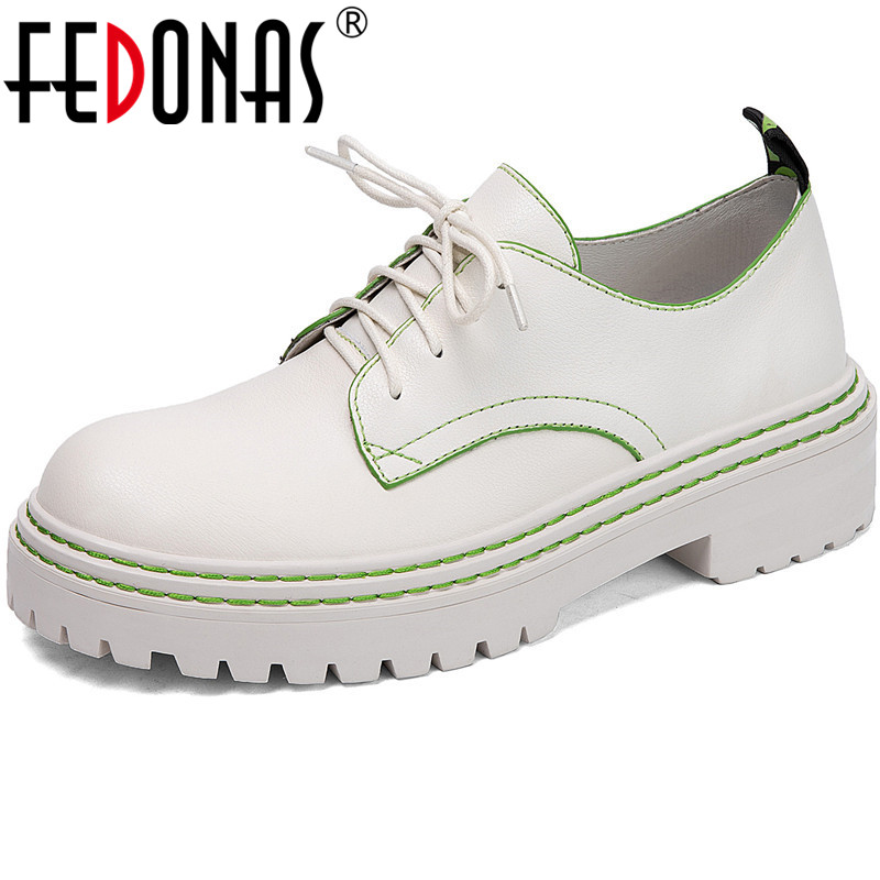 FEDONAS Women Genuine Leather Office Platform Shoes Quality Round Toe Thick Heels Pumps Shoes Spring Summer Lace Up Shoes Woman