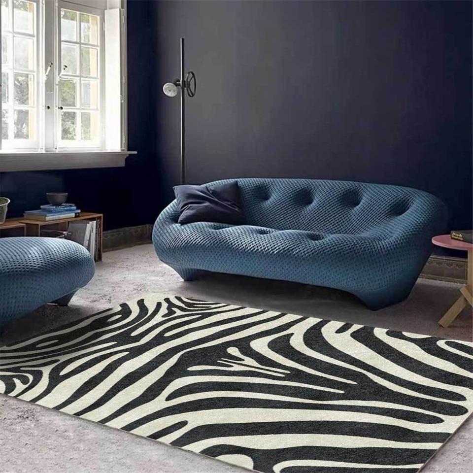 Modern Luxury Zebra Pattern Carpet Living Room Kitchen Runner Floor Mat Animal Printed Bedroom Area Rug Nordic Style Bedside Rug