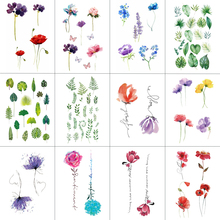 HXMAN 12 PCS/lot Flower Temporary Tattoo Sticker for Women Men Fake Tatoo Body Art Adult Waterproof Hand Stickers 9.8X6cm W12-19