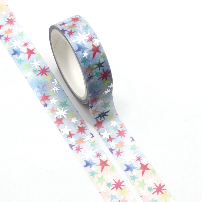 2PCS/lot Decorative Colorful Stars Foil Washi Tapes Paper For Scrapbooking Planner Adhesive Masking Tapes Office School Supply