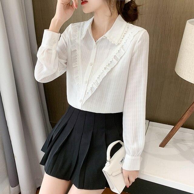 New Spring Ladies Doll Collar Shirt Long Sleeve Chiffon Shirt Fashion Lace Bottoming Shirt Ruffled Top Women Blouses 4