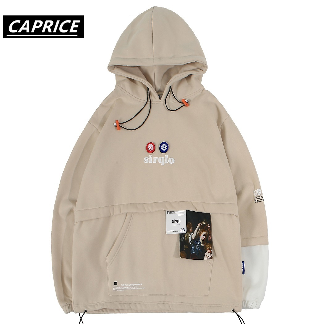 Patchwork Front Pockets Hoodies Mens Autumn Harajuku Streetwear Hip Hop Casual Pullover Fashion Hooded Sweatshirts Khaki