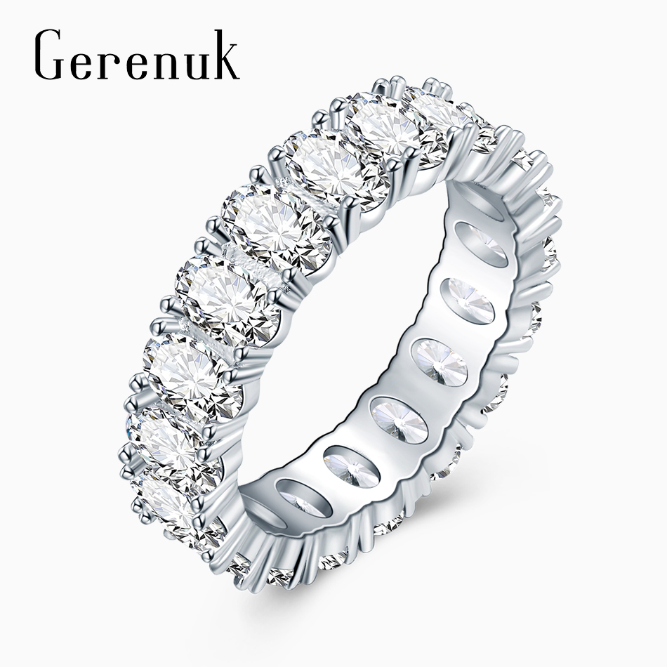 Gerenuk CZ Fashion Oval Eternity Rings for Women Luxury Wedding Band Prong Setting Zirconia Jewelry Accessories Mujer GUR0580
