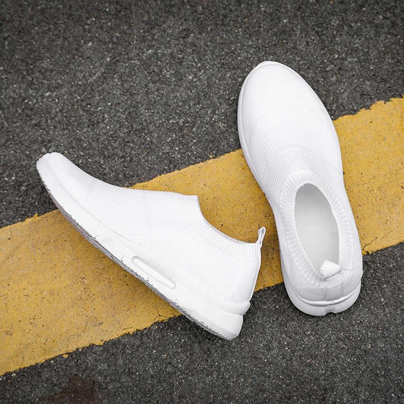 Moda masculina sapatos casuais branco leve respirável tênis de malha calçados masculinos confortáveis deslizamento-em apartamentos tenis formadores