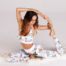 Women Seamless Yoga Set Floral Printed Fitness Jumpsuit Crop Tank Top Leggings Running Sportswear Workout Gym Clothes YST22 white random floral printed gym leggings
