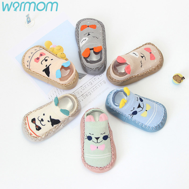 WARMOM Infant Shoes Socks Baby Socks With Rubber Soles Baby Floor Socks Shoes Winter Warm Socks Cute Pattern Kids Knitting Socks