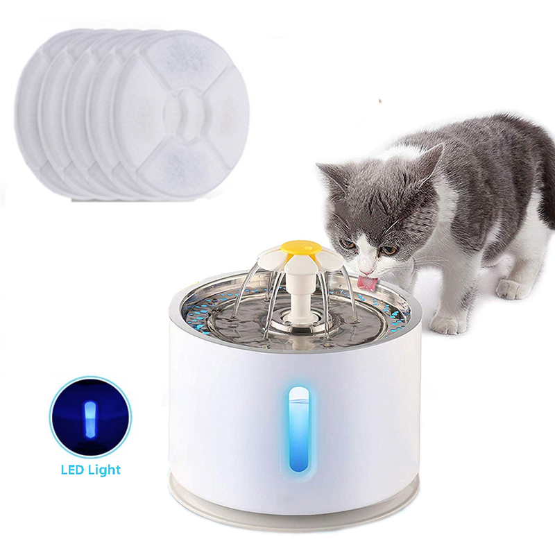 Automatic Pet Cat Water Fountain with LED Lighting 5 Pack Filters 2.4L USB Dogs Cats Mute Drinker Feeder Bowl Drinking Dispenser