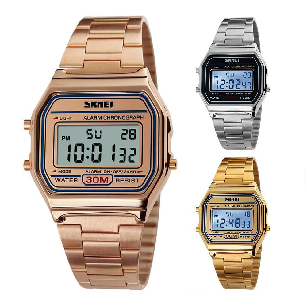 Casual Men Rectangle Dial Digital Display Alarm Chronograph Business Wrist Watch Mas-culino Fashion Men's Watch Large Dial Milit