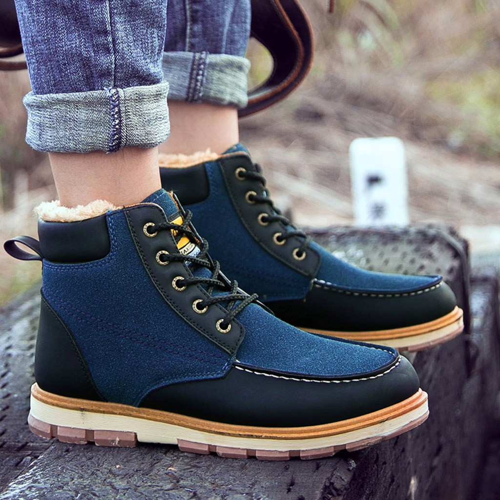 Mountaineering Boots Rubber-Shoes Outdoor Winter Men Sport Fashion Ankle Lace-Up Plush-Insole