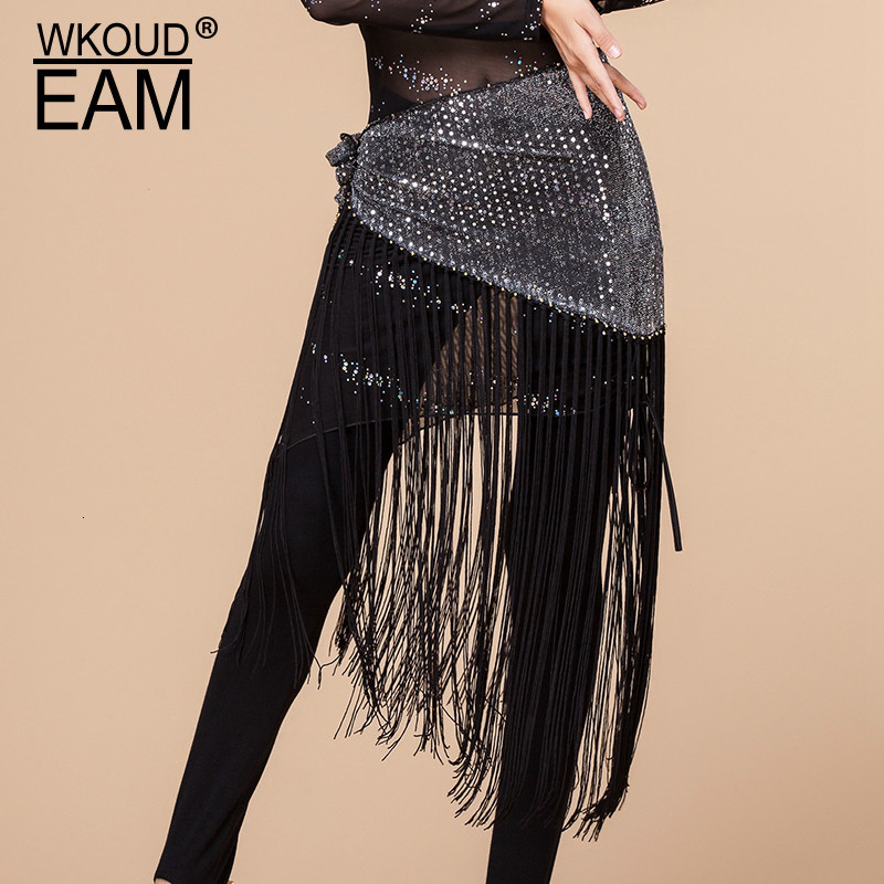 WKOUD EAM 2020 New Fashion Trendy Solid Wid Belt Women Dot Print Decorative Tassel Girdle Female Metal Buckle Cummerbunds ZJ965