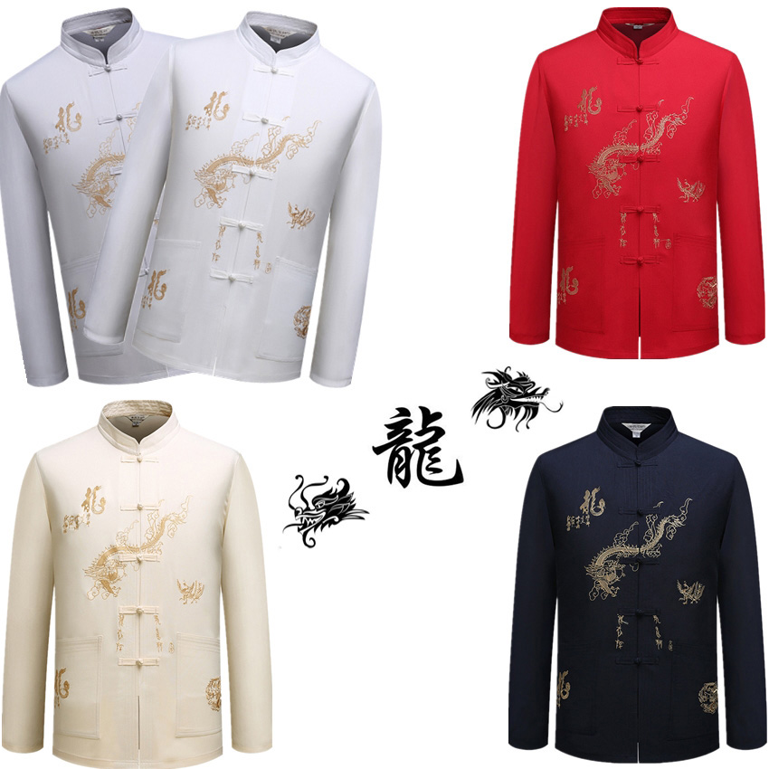 5Colors Dragon Male Clothes Tangsuit Traditional Chinese Clothing For Men Wushu Standing Collar Shirt Top Hanfu Dropshopping