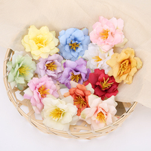 10PCS 5.5cm Artificial Flower Head Silk Rose Orchid For Wedding Decoration Party DIY Wreath Gift Scrapbooking Craft Fake Flower