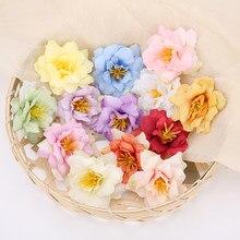 10 Uds 5,5 cm cabeza de flor de Rosa de seda orquídea para boda decoración fiesta DIY Ofrenda floral arte de colección de recortes falsa flor