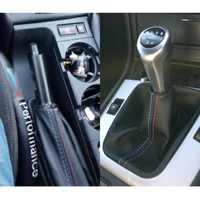 2pcs Car Leather Gear Head Shift Knob Cover Handbrake Grip Car Hand Brake Covers Case New