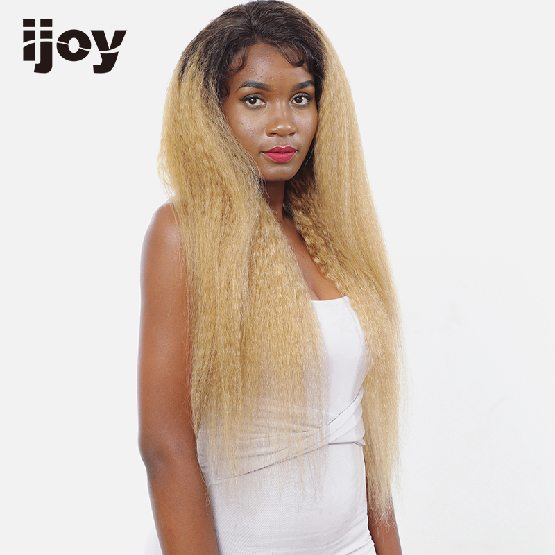 Ombre Honey Blonde Lace Front Wig Kinky Straight Colored Human Hair 4x13 Brazilian 16-26inch Highlight Wig Non-Remy Cosplay IJOY