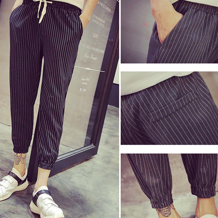 Korean-style New Products Men's Stripes Casual Pants Men's Capri Ankle Banded Pants Autumn Loose-Fit Pants Fashion Men's Trouser