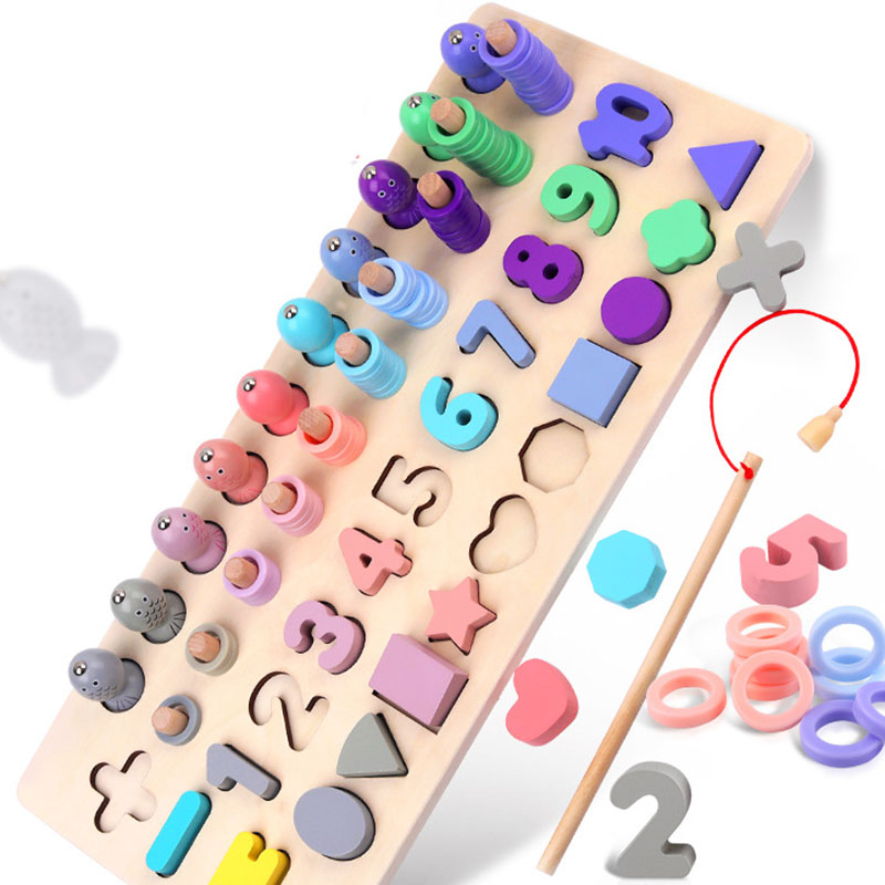 Wooden Montessori Toys Count Numbers Matching Geometric Shape Cognition Puzzle Fishing Game Early Education Toys For Children