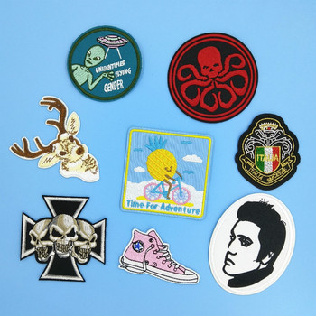 Skull Octopus Deer Elk Elvis Presley Thermal Fabric Sticker Clothing Iron on Patch Badge for Apparel Garment image