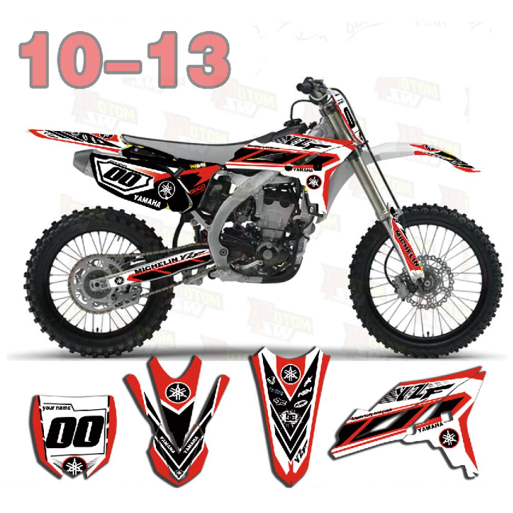 New Full Graphics Decals Stickers Custom Number Name Glossy Bright Stickers Waterproof For YAMAHA YZF250 2010-2013