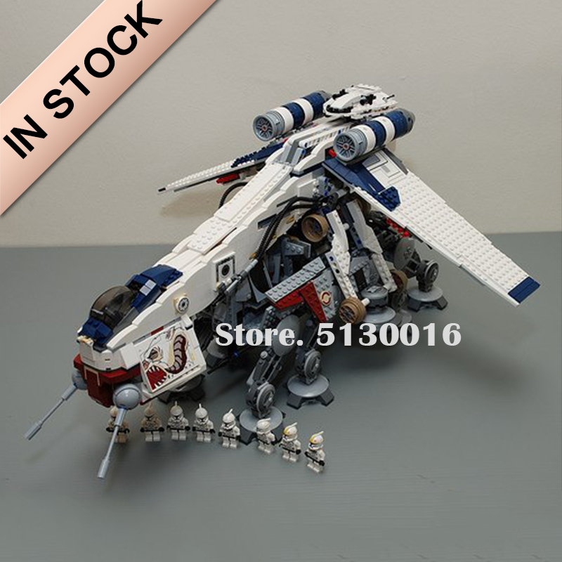 In Stock 05053 Republic Dropship with AT-OT Walker 1758pcs Star Wars Series <font><b>10195</b></font> Model Building Blocks Bricks Toys 81055 image