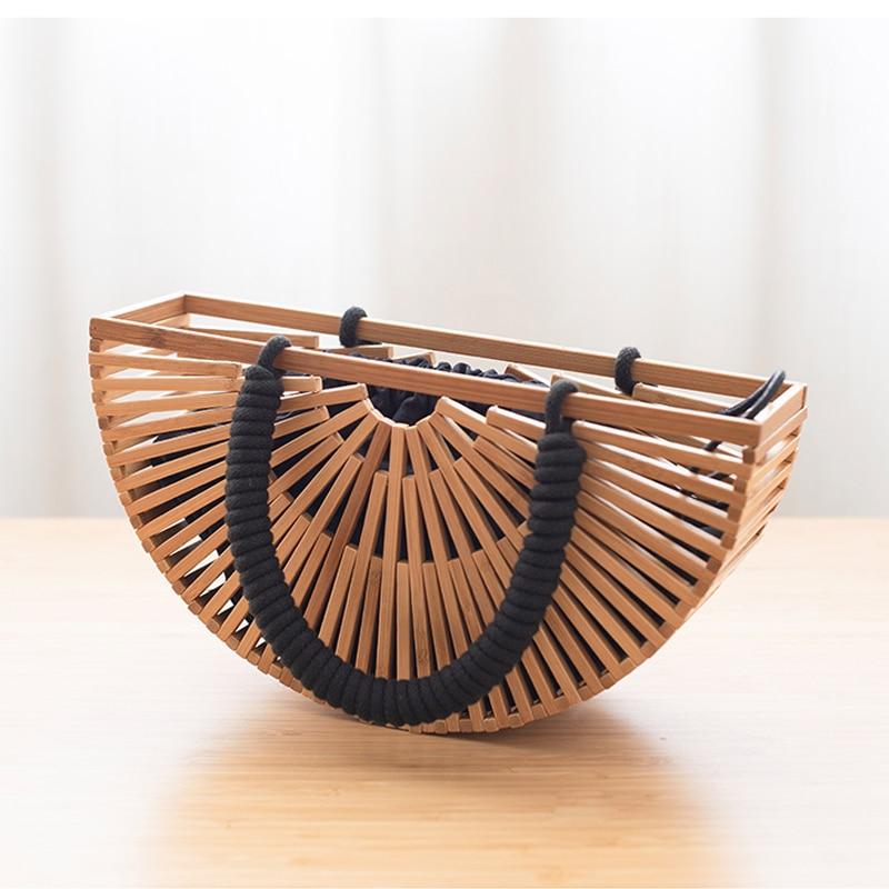 bambu cesta oco para fora saco de mão