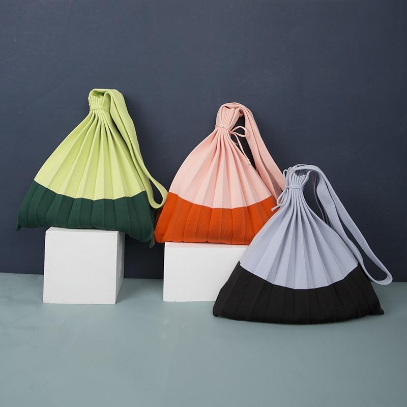 Шерстяная Вязаная плиссированная сумка, лоскутные сумки для покупок на шнурке, повседневная большая сумка на плечо для девочек, Корейская я...
