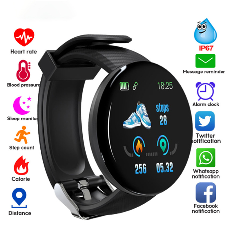D18 Fitness Watches Smart Watch Smart Bracelet Men Women Blood Pressure Step Information Reminder  Stopwatch For IOS Android