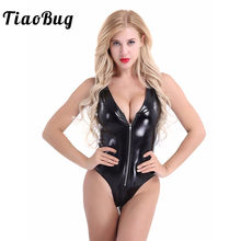 ChicTry Adult Black PU Leather Deep V Neck Front Zipper Leotard Club Party Rave Pole Dance Costume Women Sexy Bodysuit Jumpsuit(China)