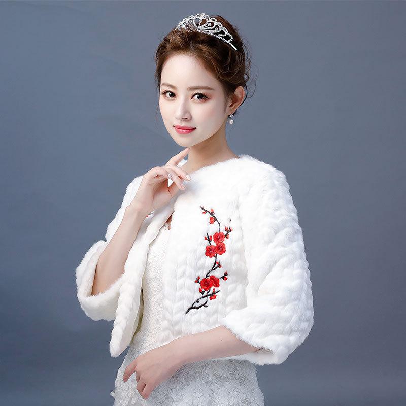 Estola De Pele Falso Dress Shawls New Wedding Cheongsam Bridesmaid Dresses With Thick Coat Long Sleeve Warm Autumn And Winter