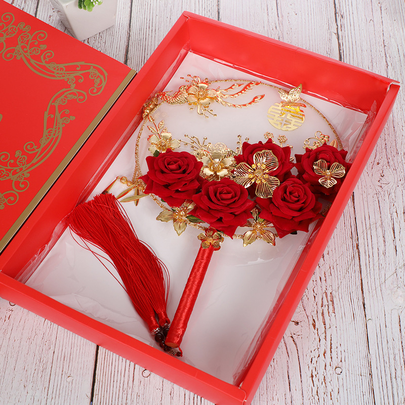 32x22cm Handheld Round Fan Materials Kit Handmade Ancient Chinese Wedding Bride Photography Ornaments Flowers