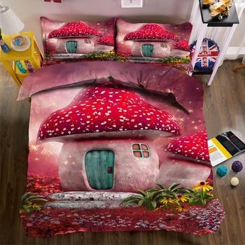 3d Printed Bedding Duvet Cover set Pink Cartoon Mushroom Castle Pattern Single/Double Bedding set for Child Room Pillowcase