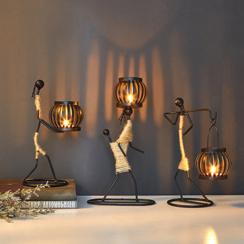 Nordic Metal Candlestick Abstract Art Character Sculpture Candle Holder  1
