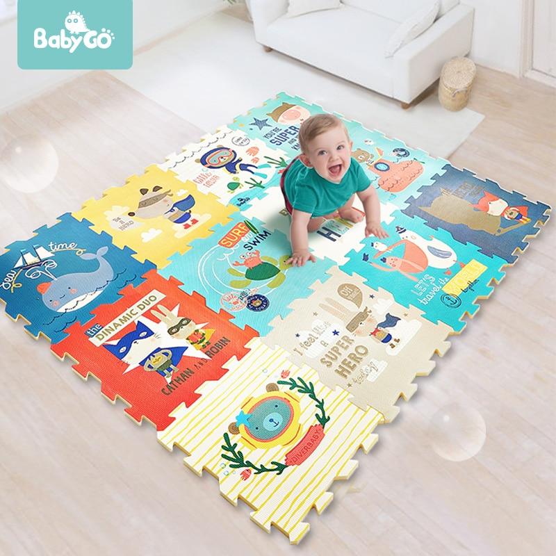 BabyGo PE Foam Play Mat Baby Thickened Tasteless Crawling Pad Children Kids Living Room Cartoon Non-Slip Play Game Floor Mat