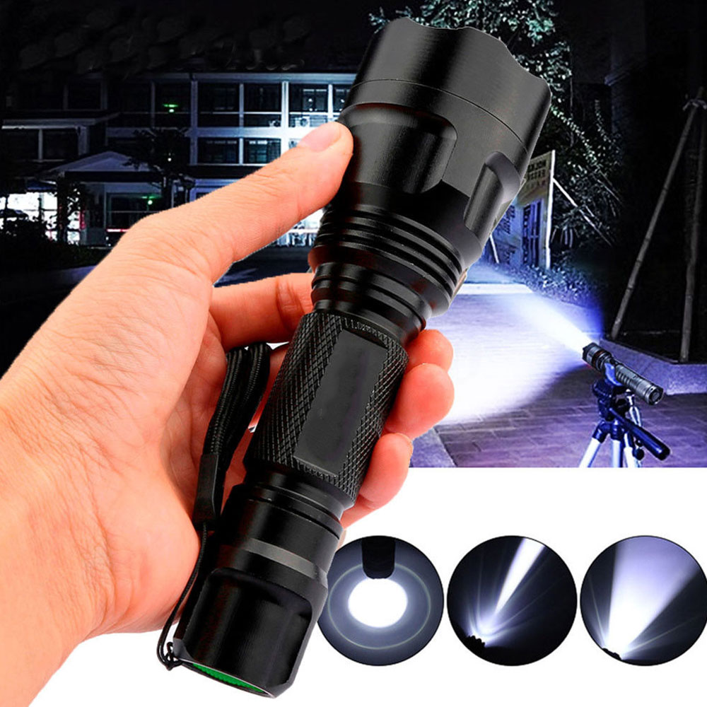 LED Flashlight 3 Modes Tactical Military Hiking Climbing Emergent Lamp Super Bright 18650 Rechargeable Waterproof Cycling Torch
