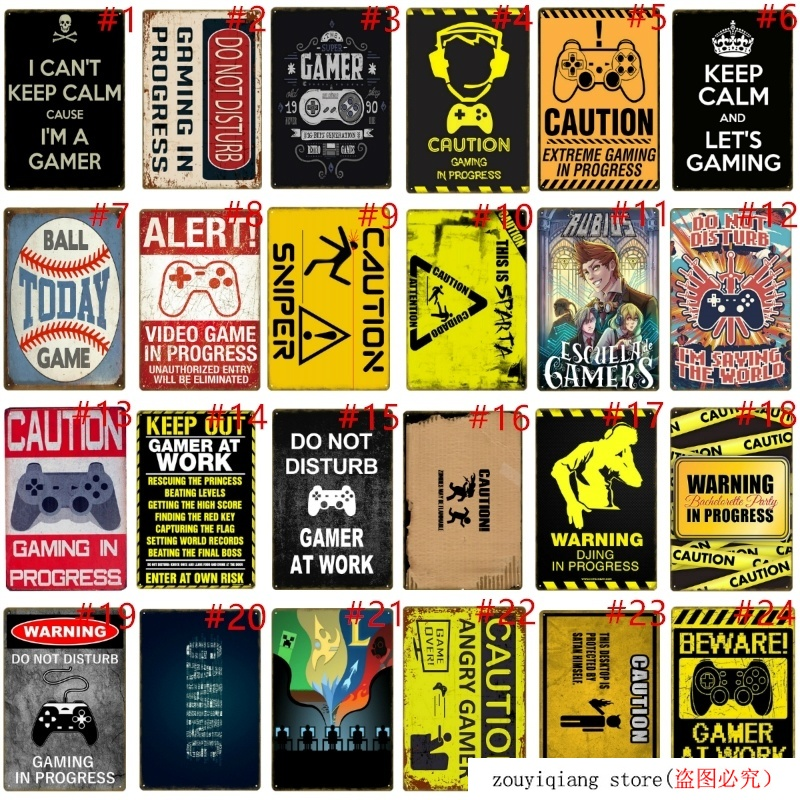 Alert Vintage Metal Tin Signs Caution Plaque Gaming In Progress Retro Art Poster Gift Home Bar Pub Decorative Wall Plates YD032