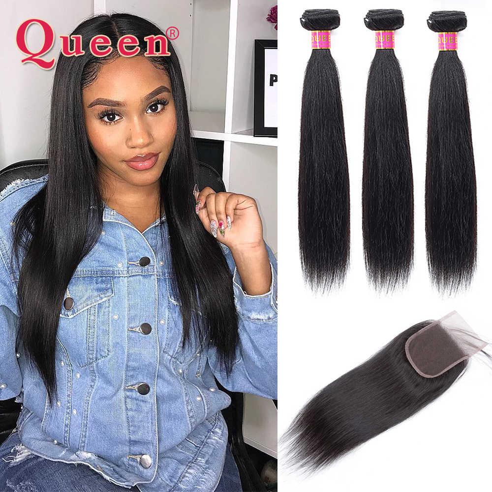 Queen hair Prodotti per capelli Lisci Brasiliano Fasci Del Tessuto Dei Capelli Con Chiusura di Remy del Brasiliano Dei Capelli Bundles Capelli Umani Con Chiusura