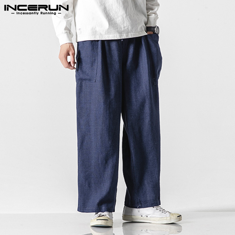 INCERUN Fashion Baggy Pants Men Solid Straight Pants Casual Cargo Trousers Street Cotton Elastic Waist Mens Sweatpants Joggers