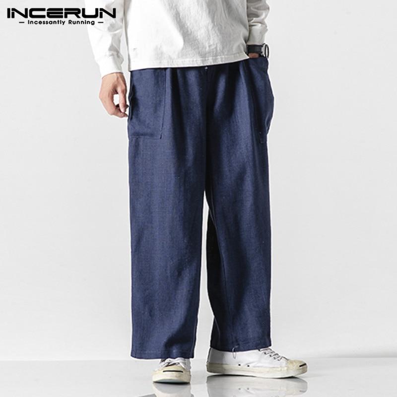 INCERUN Fashion Baggy Pants Men Solid Straight Pants Casual Cargo Trousers Street Cotton Elastic Waist Mens Sweatpants Joggers