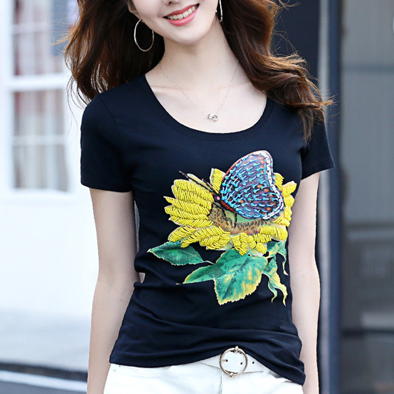 Beading Flower T Shirts Women O Neck Short Sleeve Girl Tops T shirts 2019 Summer Embroidery Women Floral Casual Tee Shirt 281G7 in T Shirts from Women 39 s Clothing