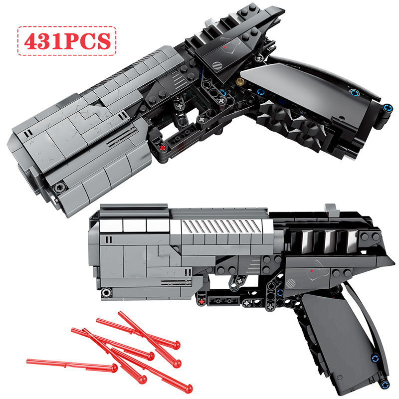 431pcs City Police Signal Gun Building Blocks For Legoing Military Technic WW2 Pistol Gun Assembly Bricks Gifts Toys For Boys