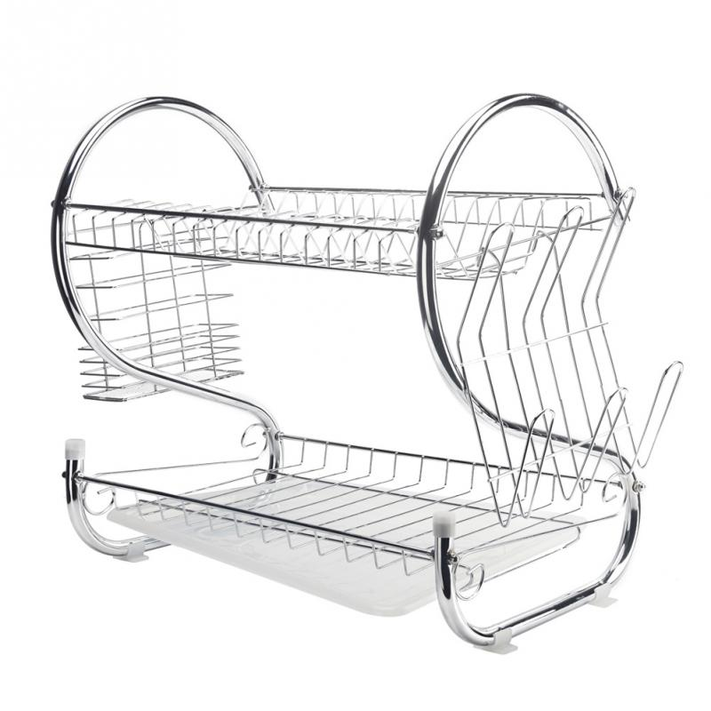 2 Tiers Dish Drying Rack Kitchen Sink Dish Drainer Drying Rack Organizer Silver Iron Utensils Rack Kitchen Expandable Organizer