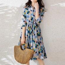 Ins moda polka dot boêmio vestido de impressão 2021 primavera versão coreana do novo meados de comprimento grande tamanho vestido de chiffon de cintura alta