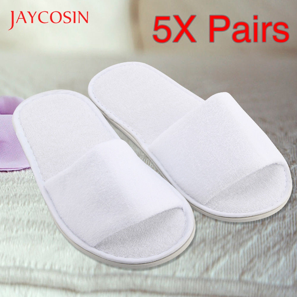 Jaycosin 5 Pairs disposable slippers spa hotel guest slippers open toe towel indoor disposable slippers Terry Style Breathable 1