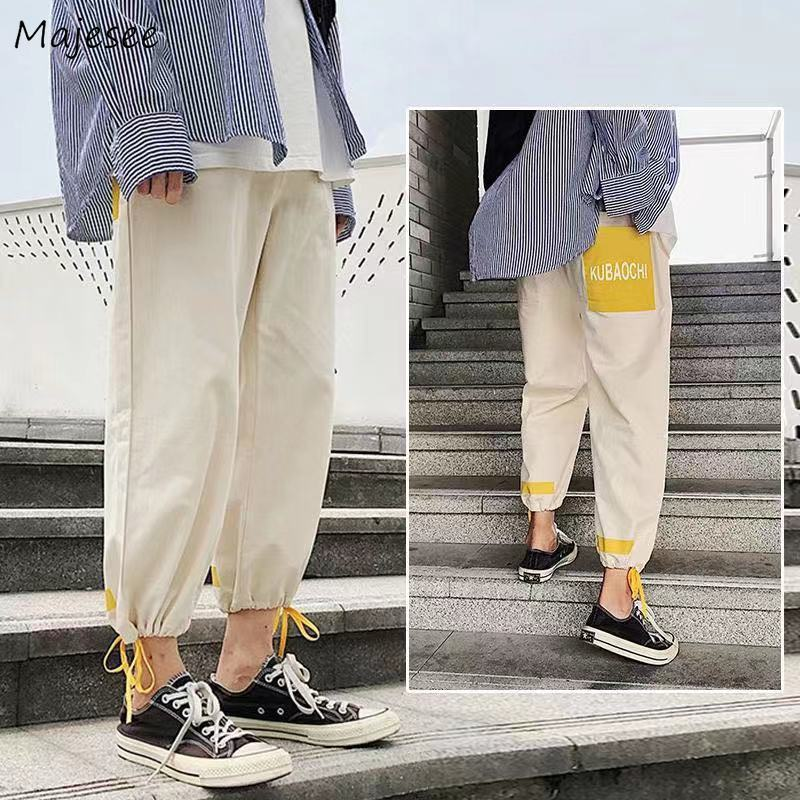 Men Casual Pants Patch Designs Bundle Ankle Length Large Size 3XL Loose Panelled Hip-hop Streetwear Cargo-pants Ins BF Teens New