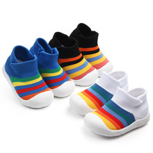 Baby Walkers Toddler First Walker Baby Girl Kids Soft Rubber Sole Baby Shoe Knit Booties Anti-slip Baby Shoes First Shoes cheap CN(Origin) Knitted Fabric Shallow All seasons Slip-On striped Baby Boy Fits true to size take your normal size