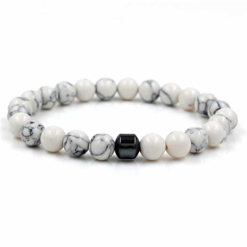 Европейский и американский стиль 8 мм горячие ювелирные изделия мода простой Лава камень Йога энергии эластичный браслет с камнями аксессуары